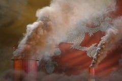 Πυκνός καπνός των σωλήνων εργοστασίων στη σημαία του Μπουτάν - σφαιρική έννοια θέρμανσης, υπόβαθρο με τη θέση για το λογότυπό σας διανυσματική απεικόνιση