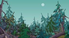 Πυκνό κωνοφόρο δάσος κινούμενων σχεδίων ελεύθερη απεικόνιση δικαιώματος