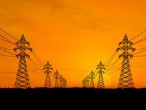 πυλώνες ηλεκτρικής ενέρ&gamm Στοκ Φωτογραφίες