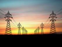 πυλώνες ηλεκτρικής ενέρ&gamm Στοκ φωτογραφία με δικαίωμα ελεύθερης χρήσης