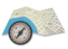 Πυξίδα και χάρτης διανυσματική απεικόνιση