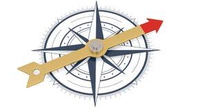 Πυξίδα με τη χρυσή βελόνα που απομονώνεται στο άσπρο τρισδιάστατο illustr υποβάθρου ελεύθερη απεικόνιση δικαιώματος