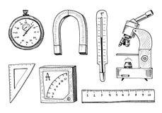 Πυξίδα και μαγνήτης, alpelmet με το θερμόμετρο και το μικροσκόπιο χαραγμένο χέρι που σύρεται στο παλαιό σκίτσο και τα εκλεκτής πο απεικόνιση αποθεμάτων