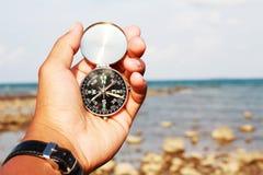 πυξίδα σε μια παραλία Στοκ Φωτογραφίες