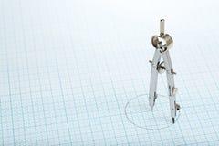 Πυξίδα σε χαρτί Στοκ Φωτογραφία
