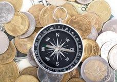 Πυξίδα στα νομίσματα Στοκ Εικόνα