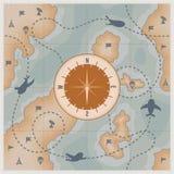 Πυξίδα στον παλαιό χάρτη με τα αεροπλάνα και τα στρατιωτικά σημάδια Στοκ φωτογραφία με δικαίωμα ελεύθερης χρήσης