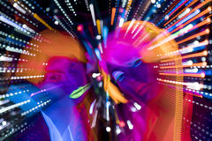 Πυράκτωσης UV νέου προκλητική κούκλα cyber disco θηλυκή Στοκ εικόνες με δικαίωμα ελεύθερης χρήσης