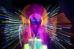 Πυράκτωσης UV νέου προκλητική κούκλα cyber disco θηλυκή Στοκ εικόνα με δικαίωμα ελεύθερης χρήσης