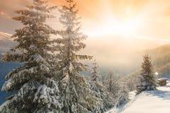 Πυράκτωση πρωινού στα χειμερινά βουνά Στοκ Φωτογραφία