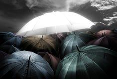 πυράκτωση φω'των ομπρελών που ξεχωρίζει από το πλήθος της σκοτεινής ομπρέλας Στοκ Εικόνα