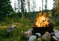 Πυρά προσκόπων στα ξύλα Στοκ Εικόνες