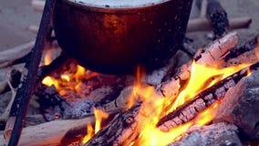 Πυρά προσκόπων στην παραλία Κατσαρόλα με τα τρόφιμα σε μια πυρκαγιά απόθεμα βίντεο