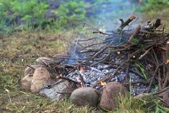 πυρά προσκόπων φωτιών Στοκ Εικόνα