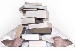 Πυραμίδα από τα βιβλία Στα χέρια ενός σημαδιού με μια κενή θέση για την επιγραφή σας Στοκ Εικόνες