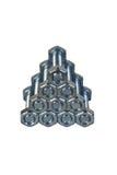 Πυραμίδα των μπουλονιών και των καρυδιών Στοκ εικόνες με δικαίωμα ελεύθερης χρήσης