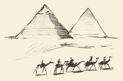 Πυραμίδες Κάιρο Αίγυπτος με τον τρύγο καμηλών τροχόσπιτων απεικόνιση αποθεμάτων