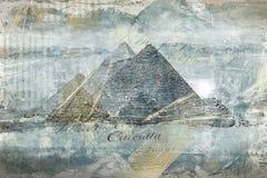 Πυραμίδες χρυσός-μπλε πολυτέλειας Ψηφιακή αφηρημένη ζωγραφική τέχνης Στοκ εικόνα με δικαίωμα ελεύθερης χρήσης