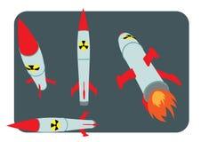Πυρηνική διανυσματική απεικόνιση βομβών καταστροφών ατομική Στοκ Εικόνες