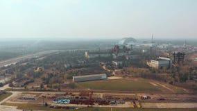 Πυρηνικός σταθμός του Τσέρνομπιλ, εναέρια άποψη απόθεμα βίντεο