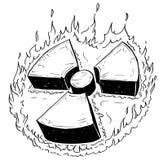 Πυρηνικό ακτινοβολίας σχέδιο Doodle χεριών συμβόλων διανυσματικό Στοκ εικόνες με δικαίωμα ελεύθερης χρήσης