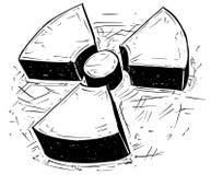 Πυρηνικό ακτινοβολίας σχέδιο Doodle χεριών συμβόλων διανυσματικό Στοκ Εικόνα