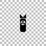 Πυρηνικό εικονίδιο βομβών επίπεδο διανυσματική απεικόνιση