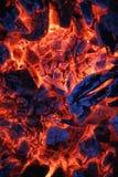 Πυρκαγιάς ξύλινη κινηματογράφηση σε πρώτο πλάνο τέφρας άνθρακα ηλέκτρινη Στοκ Εικόνες