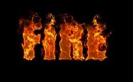 Πυρκαγιά λέξης στο μαύρο υπόβαθρο στις κόκκινες, φλογερές επιστολές Στοκ Εικόνες