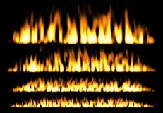 Πυρκαγιά ή αντιπυρικά που απομονώνονται στο μαύρο υπόβαθρο, στοιχεία πυρκαγιάς, πλαίσιο πυρκαγιάς Στοκ Φωτογραφίες