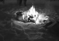 Πυρκαγιά για το τσάι Στοκ εικόνα με δικαίωμα ελεύθερης χρήσης