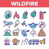 Πυρκαγιά, διανυσματικά λεπτά εικονίδια γραμμών ανεξέλεγκτων δασικών φωτιών καθορισμένα διανυσματική απεικόνιση