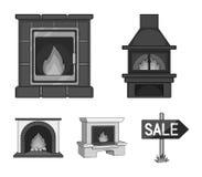 Πυρκαγιά, ζεστασιά και άνεση Καθορισμένα εικονίδια συλλογής εστιών στο μονοχρωματικό Ιστό απεικόνισης αποθεμάτων συμβόλων ύφους δ Στοκ Φωτογραφίες