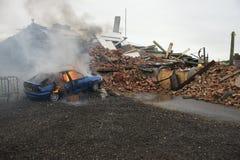 Πυρκαγιά και έκρηξη αυτοκινήτων Στοκ φωτογραφίες με δικαίωμα ελεύθερης χρήσης