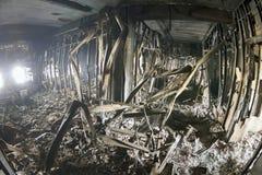 Πυρκαγιά και καταστροφή στη Βουλή των συνδικάτων στο Maidan Στοκ Εικόνα