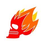 Πυρκαγιά κρανίων Επικεφαλής φλόγα σκελετών φλεμένος σημάδι δερματοστιξιών κρανίων Στοκ φωτογραφία με δικαίωμα ελεύθερης χρήσης