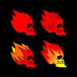 Πυρκαγιά κρανίων Επικεφαλής φλόγα σκελετών φλεμένος σημάδι δερματοστιξιών κρανίων Στοκ Εικόνες
