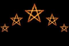 πυρκαγιά πέντε αστέρια που απομονώνονται στο Μαύρο Στοκ Εικόνες