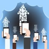 Πυρκαγιά που μοιράζεται μέσω του σύννεφου την έννοια τεχνολογίας υπολογισμού με το κινητό τηλέφωνο, διανυσματική απεικόνιση στο ε Στοκ φωτογραφία με δικαίωμα ελεύθερης χρήσης