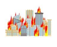 Πυρκαγιά πόλεων πόλη στις φλόγες Έγκαυμα κτηρίων ελεύθερη απεικόνιση δικαιώματος