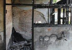 Πυρκαγιά σπιτιών Πυρκαγιά εικόνων λεπτομέρειας από ένα σπίτι Στοκ Φωτογραφία