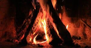 Πυρκαγιά στην εστία το βράδυ απόθεμα βίντεο