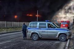 Πυρκαγιά στη βιομηχανική ζώνη Στοκ εικόνα με δικαίωμα ελεύθερης χρήσης