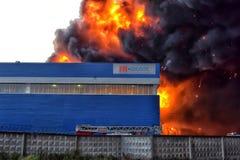 Πυρκαγιά στη βιομηχανική ζώνη Στοκ Εικόνα