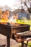 Πυρκαγιά στη σχάρα, υπαίθρια Καπνώδης άνθρακας καυσόξυλο Στοκ Εικόνες