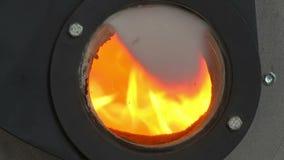 Πυρκαγιά στη σόμπα για το κάψιμο βιομαζών απόθεμα βίντεο