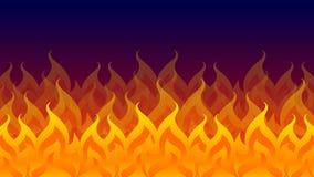 Πυρκαγιά, φωτιά, φλόγα πυρκαγιάς που απομονώνεται στο σκοτεινό υπόβαθ διανυσματική απεικόνιση