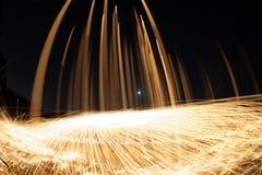 Πυρκαγιά POI/περιστρεφόμενο μαλλί χάλυβα Στοκ Εικόνες