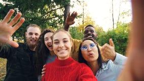 Πυροβολισμός άποψης των χαρούμενων ανδρών και των γυναικών που καλούν τους φίλους από το πάρκο που κάνουν τη σε απευθείας σύνδεση στοκ εικόνες με δικαίωμα ελεύθερης χρήσης