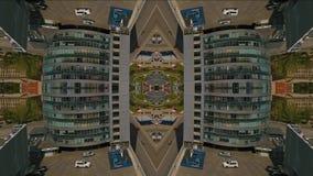 Πυροβολισμός Aero, καθρέφτης πόλεων, ουρανοξύστης με το χώρο στάθμευσης φιλμ μικρού μήκους